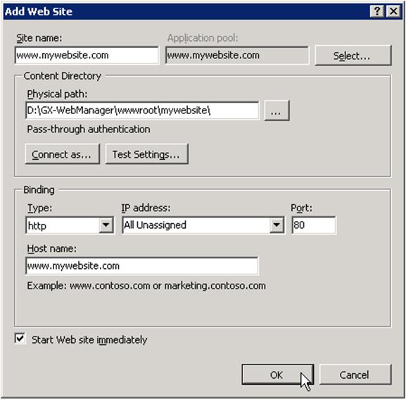 Microsoft IIS - XperienCentral Documentation - GX Wiki